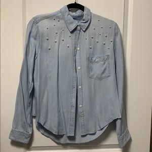 Rails pearl detail denim shirt